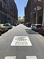 Señal de Madrid Central en el suelo en la calle Baltasar Gracián.jpg