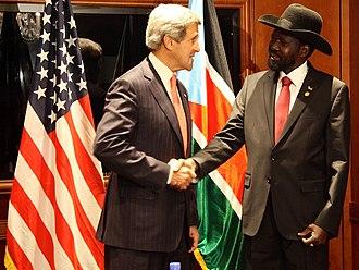 Salva Kiir Mayardit - U.S. Secretary of State John Kerry meets with President Kiir, May 26, 2013