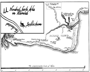 """Manhood Peninsula - Armada Map of the Selsey peninsula from a survey made in 1587. Note the """"Hundred House in Manwed (Manhood)""""  at the top of map, with detail inset."""