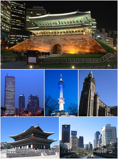 Clockwise from top: Namdaemun, Myeongdong Cathedral, Cheongyecheon, Gyeongbokgung Geunjeongjeon, 63 Building, N Seoul Tower