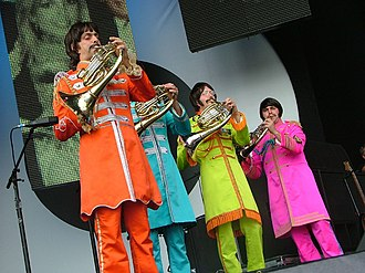 Live 8 concert, London - The London French horn free-lancers (Steggall, A Walters, J Walters, Gunner)  Sgt. Pepper band