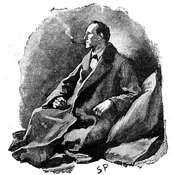 "Sherlock Holmes thinks through a problem in ""The Man with the Twisted Lip"", which appeared in The Strand Magazine in December 1891 Sherlock Holmes - The Man with the Twisted Lip.jpg"