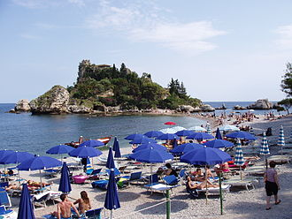 Isola Bella (Sicily) - View of Isola Bella from above the beach.