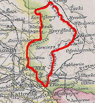Duchy of Siewierz - Territory of the former duchy within Congress Poland