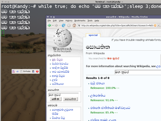 Sinhalese alphabet - Input of Sinhala characters into a terminal and Firefox on the xubuntu desktop using SCIM