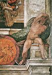 Sistine Chapel fresco of an Ignudo right of Isaiah - Michelangelo.jpg