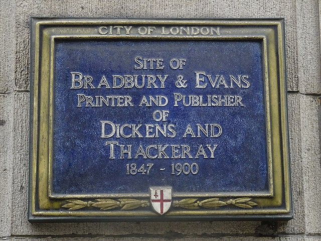 Blue plaque № 6068 - Site of Bradbury & Evans Printer and Publisher of Dickens and Thackeray 1847-1900