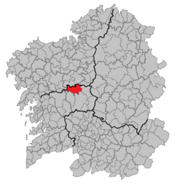 Situation of Vila de Cruces within Galicia