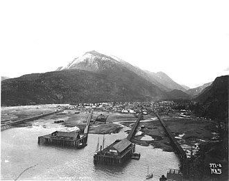 Skagway, Alaska - Skagway wharves and harbor ca. 1898 photo by Eric A. Hegg