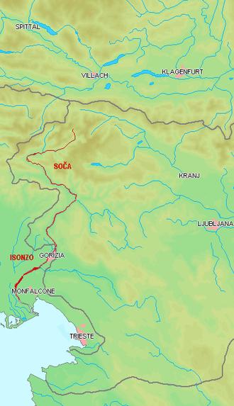 Soča - Course of the Soča/Isonzo