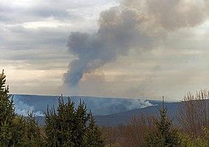 Sam's Point Preserve - Image: Smoke from 2016 Sam's Point wildfire over Shawangunks