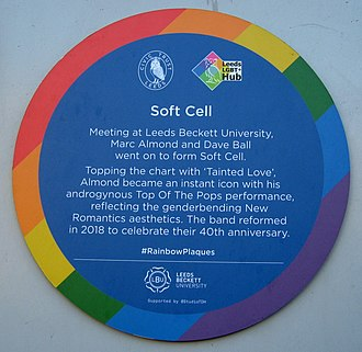 Soft Cell - Plaque honouring Soft Cell at Leeds Beckett University (formerly Leeds Polytechnic)