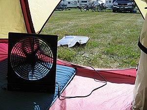 Solar-powered fan - A solar fan with externally mounted solar panels