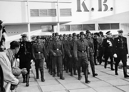 Soldiers from the Free Corps Denmark marching out of the KB Hallen in connection with DNSAP's spring appeal d. 26 April 1942 Soldater fra Frikorps Danmark 26. april 1942.jpg