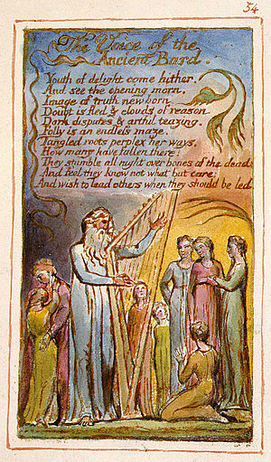 "The Voice of the Ancient Bard - Songs of Innocence and of Experience, copy AA, 1826, object 54 (Bentley 54, Erdman 54, Keynes 54) ""Introduction""  (The Fitzwilliam Museum)"