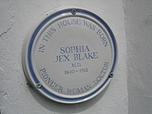 A plaque commemorating the birthplace of Sophia Jex-Blake