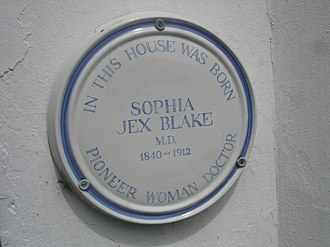 Sophia Jex-Blake - A plaque commemorating the birthplace of Sophia Jex-Blake.
