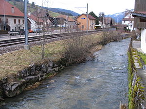 Sorvilier - The river Birs and the railroad station in Sorvilier