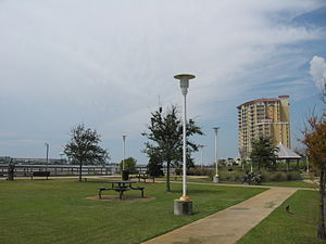 Fort Walton Beach, Florida - View from Sound Park looking west towards Presidio Condominium.