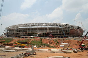 Construction work in progress at Soccer City i...