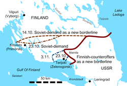 Soviet-finnish negotiations 1939 borderline