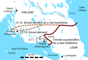 Phase line (cartography) - A map of negotiated border lines at different stages of the Finnish Winter War.