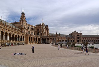 Lawrence of Arabia (film) - The Plaza de España, Seville appeared as Britain's Egyptian Expeditionary Force Headquarters in Cairo, which included the officers' club.