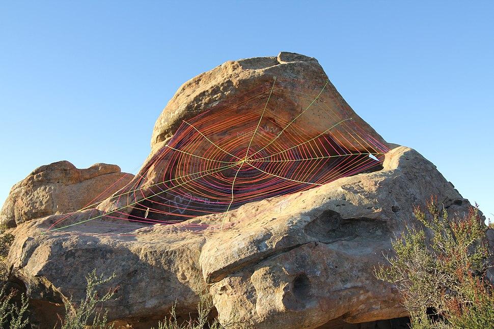Spiderweb Yarnbomb Installation by Stephen Duneier