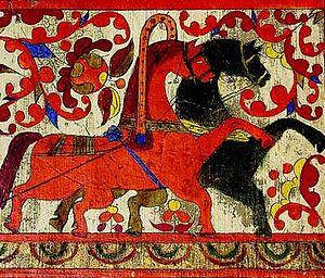 Verkhnetoyemsky District - Red (day) and black (night) horses. Fragment of a spinning distaff board from the Nizhnyaya Toyma area