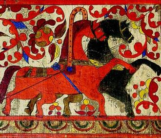 Verkhnetoyemsky District - Red (day) and black (night) horses. Fragment of a spinning distaff board from the Nizhnyaya Toyma area