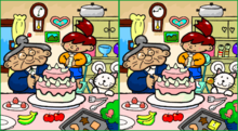 Two almost-identical cartoons, side-by-side, of an old lady looking on while a young child decorates a pink cake
