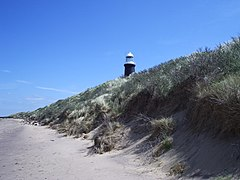 Spurn in May 2005, showing the lighthouse and sand-dunes.
