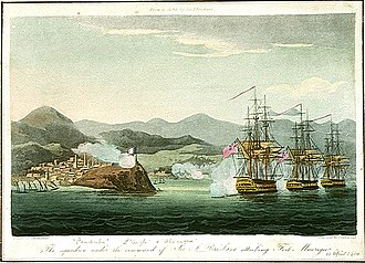 HMS Pembroke (1812) - Squadron under the command of Sir J Brisbane attacking Fort Maurigio 1814