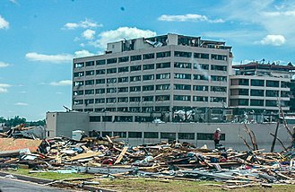 Tornado outbreak sequence of May 21–26, 2011 - EF5 damage to St. John's Regional Medical Center in Joplin, which later had to be torn down due to deformation of its foundation and underpinning system.