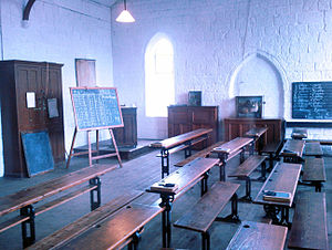 St James' School, Dudley - The classroom set out as it was thought to be in 1912