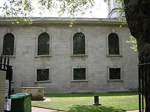 St Luke Old Street - The north side of St Luke's, showing the distortion of the windows caused by the subsidence which brought about the church's closure