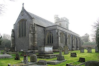 St Michael's, Chenies - The exterior of St Michael's, with the Bedford Chapel attached