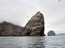A large, triangular rock rises from the misty waters, with more islands behind and Northern Gannets flying around it.