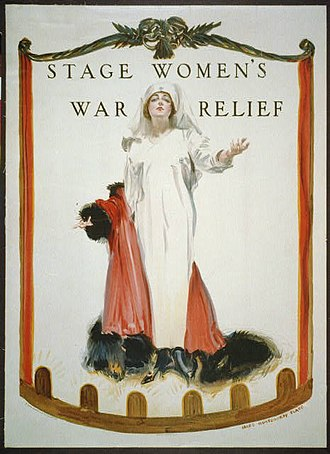 American Theatre Wing - James Montgomery Flagg poster for Stage Women's War Relief (1918)