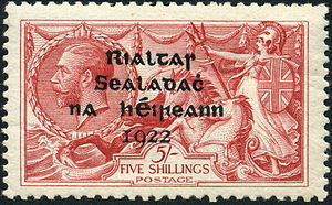 Provisional Government of Ireland (1922) - Postage stamps of the government consisted of overprinted British stamps.  The text in traditional Irish orthography reads Rialtas Sealadach na hÉireann 1922 and translates as Provisional Government of Ireland 1922
