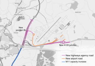 M11 motorway - A map showing the proposed road development at the entry to Stansted Airport.
