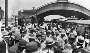 Central Western railway line, Queensland - Celebration at Winton station for the opening of the line from Longreach, 1928