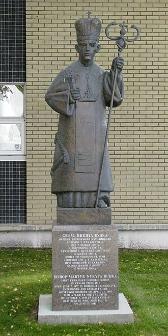 Nykyta Budka - Statue of Budka on the grounds of St. Josaphat Cathedral in Edmonton, Alberta