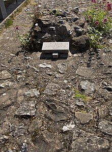 Rocky ground with a small stone marker.