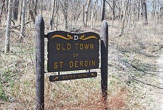 St. Deroin, Nebraska - Sign on path leading to St. Deroin town site
