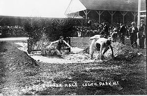 Steeplechase (athletics) - Steeplechase race, Celtic Park, N.Y., through water