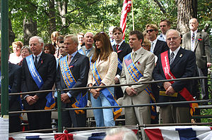 German-American Steuben Parade - Parade VIPs: German Ambassador Dr. Klaus Scharioth, the Mayor of Hamburg, Germany, Ole von Beust, Grand Marshal Carol Alt, General Chairman Lars Halter, and Heinz Buck, President of the German-American Committee of Greater New York