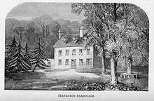 Engraving of a house surrounded by trees