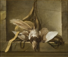 Still Life with a Dead Bird and Hunting Gear