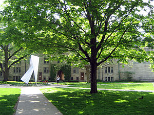St. Michael's College, Toronto - At the centre of the main college quadrangle is a sculptural representation of Saint Michael.